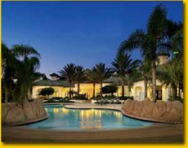 Vacation home for rent near Disney World - Main Pool at Night